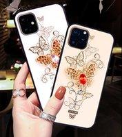 Caixa do telefone da moda para IPhone 12 Mini 12 / 12pro 12promax 11 / Pattern 11Pro / 11Pro borboleta Max com strass capa protetora 2 cores
