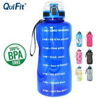 Quifit 2L 1.3L 450ml Halbgallone Tritan Sportwasserflasche mit Verriegelung Flip-Flop-Deckel Fruchtinfuser Netto Klarer Trinkflaschen 201128