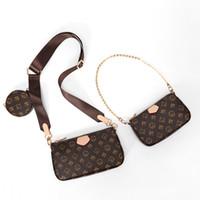 عالية الجودة المرأة المفضلة 5 قطع حقائب جلدية متعددة pochette الملحقات المحافظ براون زهرة مصغرة pochette الصليب الجسم حقيبة
