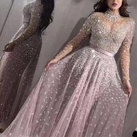 Casual Sukienki Kobiety Eleganckie Formalne Wieczorowe Party Mesh Z Długim Rękawem Wysoka Talia Cekiny Błyszcząca Suknia Ślubna 2021 Najwyższej jakości Vestidos1