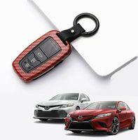 Toyota Camry 2018 2019 탄소 섬유 (적색) 스마트 키 케이스 커버 FOB 홀더
