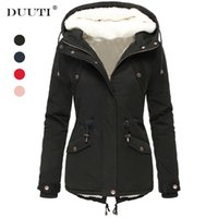 Thick Warm Parka Women Plush Inside Fall Winter Fashion Casu...