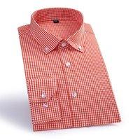 Мужские повседневные рубашки Макросея Прибытие Плед Мужской Хлопок Открытый Воротник Социальная Рубашка Высокое Качество Мужчины Умные QS