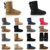 2020 Snow Sports Australia Botas para mujer Castaño Botas de nieve marrón rosa azul marino azul negro moda clásico tobillo bota corta zapatos de invierno
