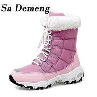 Boots Sa Demeng Winter Women Alta Qualidade Manter Quente Mid-bezerro Neve Lace-up Confortável Senhoras Zapatos Mujer1