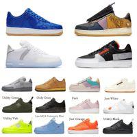 2021 Vendite calde Vintage Nike Air Force 1 Sneakers N.354 Cactus Jack Black Brown Brown Flax Arancione Mens Donna Air Force 1 Piatta scarpe sportive all'aperto
