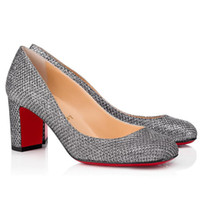 Siyah Patent Deri Kalın Topuklu Kırmızı Alt Yüksek Topuklu, Kırmızı Tabanlar Pompalar Lady Gena 85mm Patent Deri Siyah Parti Elbise Düğün Pompalar