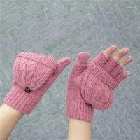 خمسة أصابع قفازات 1 زوج المرأة أدفأ الوجه هدية لينة نصف الاصبع القفازات محبوك رشاقته الصوف الاصطناعي الخريف الحرارية الخريف