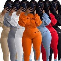 Etiqueta de la suerte 2 pieza Set Mujeres Cultivo Top Leggings Pantalones Sweet Punto Estirado Jogger Traje Otoño Ropa al Por Mayor Dropshipping1
