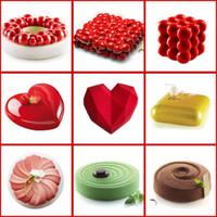 Kek Dekorasyon Kalıp 3D Silikon Kalıplar Pişirme Çanak Araçları Kalp Yuvarlak Kek Çikolatalı Brownie Mousse Tatlı Pan Yapmak
