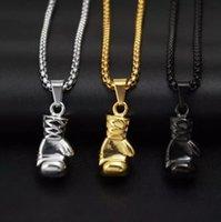 3 цвета Фитнес Боксерские перчатки титана стали ожерелье ретро Спортивные перчатки формы кулон ожерелья ключицы цепи унисекса Choker подарка ювелирных изделий