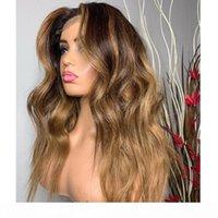 Perucas do cabelo humano da parte dianteira do laço ondulada de Ombre com cabelo do bebê 360 Mel frontal Brown de seda de silk de seda completa perucas para as mulheres