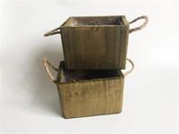 D13XH9CM Small Mini Flower pot Cute planter Wood Box DIY Succulent pots