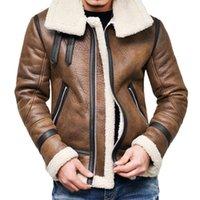 Erkek Kürk Faux 2021 Sonbahar Kış Erkekler Deri Ceket Kalın Turn-down Boyun Sıcak Liner Yaka Fermuar Dış Giyim Üst Kat Deri Mont Erkek