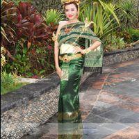 Thailandia Tradizionale Abbigliamento Nazionale Abbigliamento Donne Verde Scialle Importato Tessuto Senza Maniche Costume Acqua Spruzzi d'acqua Festival Vestiti etnici