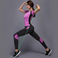 JinXiushirt Mulheres Yoga Set Ginásio Sexy Fitness Roupas Tênis Camiseta + Calças Running Tight Jogging Workout Yoga Leggings Sport Suit T200412