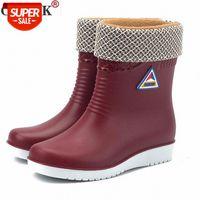 Flats Non Slip Botas de Chuva Mulheres Mid Mid Tubo Redondo Toe Botas de Neve Botas Ao Ar Livre Sapatos de Água À Prova D 'Água # Ke5V