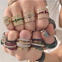 Заявление о дизайне Штабенное кольцо для женщин Свадебное Кубическое Циркон Объединение Дубай Панк Свадебные Кольца Палец