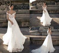Gali karten Robe de mariée en dentelle Backless Encolure Applique Bohème Robes de mariée Une ligne sexy été Boho robe de mariée 4371