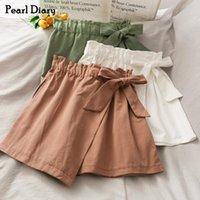 Perle Diary Culotte Femme Courte Asymétrical Fake Jupe Mignon Court Cravate Jupe Front Taille Stretch Taille Coréen Cable Mini