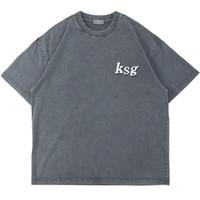 Briefschaum Übergröße gewaschene Baumwolle Tshirt Mens Kurzarm Lose Casual Sommer T-Shirt High Street O Neck Paar T-Stück