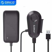 كابلات الكمبيوتر موصلات ORICO USB 3.0 إلى كابل محول محول SATA ل 2.5 / 3.5 بوصة محرك الأقراص الصلبة HDD / SSD مع 12V2A محول الطاقة- Bla