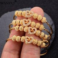 Wando 4 teile / los Baby Armreifen Gold Farbe Äthiopische Kinder Exquisite Armband / Armreif Trendy Afrikanischer arabischer Ramadan Kinderschmuck Y1218