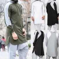 New Men Jubba Thobe árabe muçulmano roupa islâmica Abaya Dubai Kaftan Inverno manga comprida costura Arábia Saudita Sweater