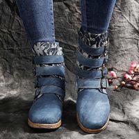 Vintage Martinbooots fibbia in stile europeo e americano ankleboot per il tempo libero donne corto peluche stivali cunei tacchi scarpe in pelle # 11251