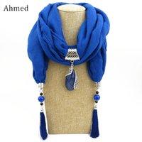 Anhänger Halsketten Ahmed Seide Schal Halskette Tropfen Wasser Halstuch Schals Frauen Fringe Quaste Erklärung Schmuck BIJOUX