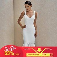 Okstrade Weiße Bandage Kleid 2020 Neue Ankunft Sommer Sexy Frauen Meerjungfrau Verband Kleid Bodycon Celebrity Abend Party Club Kleid T1101