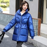 FitAylor 2020 Winter Women Stand Soport Zipper Slim White Cotton Coat Streetwear Streetweight Warm Snow Chaqueta Gran Bolsillo Outwear
