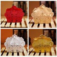 Laser coupé creux fleur fleur blanche or rouge box mariage fête bonbons bonbons cadeau cadeau favorise boxes