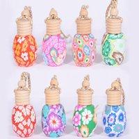 Hängendes Seil Polymer Clay Leere Flaschen Ätherisches Öl Parfüm Auto Dekoration Mix Farben Auto Diffusor Flaschen 15ml LX3661