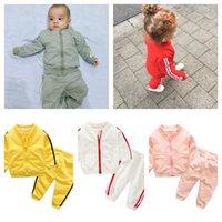 Детский отдых осенью осень длинный рукав молнии пальто куртка топы брюки дети многоцветных свободных повседневных спортивных костюмов Sportswear 70-100см G20105