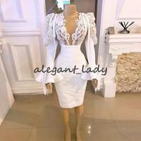 리틀 화이트 드레스 2021 리얼 이미지 긴 소매 저녁 파티 가운 두바이 아랍어 여성 레이스 새해 칵테일 드레스 Vestido
