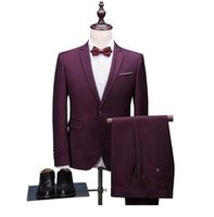 Suit 3 Pieces Homens Wedding Dress Suit 2020 Wine Red Party New Fashion Slim Fit Costume Homme dos homens com calças Plus-size S-5XL