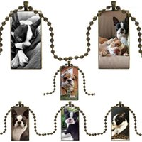 펜 던 트 목걸이 사랑 내 보스턴 테리어 개 강아지 목걸이 목걸이 패션 긴 체인 여성을위한 사각형 보석 크리스마스 선물 1