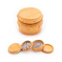 Wooden Drum Herb Grinder Wood Plastic Metal 4 Layers 46mm Chamfer Side Concave Tobacco Grinders Smoking Accessories