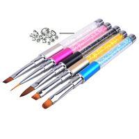 5pcs / set Nail maniglia di arte della penna della spazzola strass metallo del diamante acrilico Carving Gel Powder Liquid Liner Salon Spazzola per unghie con la protezione