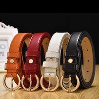 Cinturón de cuero para mujer Círculo Pin Hebilla Cinturón Fino Versión coreana Simple Slim Fit Cinturón de cuero de vaca pura