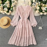 Long sleeve women dress new spring fashion v neck floral lac...