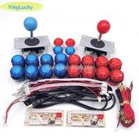 게임 컨트롤러 조이스틱 2 플레이어 DIY 아케이드 조이스틱 키트 20 LED 버튼 + 복사 Sanwa USB 인코더 키트 1