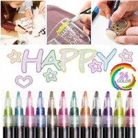 24 색 금속 반짝이 다채로운 색상 개요 마커 카와이 아트 마커 더블 라인 펜 학교 드로잉 아트 아트 용품 펜