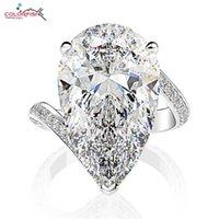 Кластерные кольца Colorfish 925 стерлингового серебра в форме серебра в форме груша 12 мм х 22 мм, смоделированные бриллиантные кольца роскошные женщины юбилейные изделия