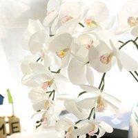 장식 꽃 화환 92cm 큰 멀티 꽃 머리 인공 시뮬레이션 나비 난초 phalaenopsis 홈 정원 DIY 장식 실크