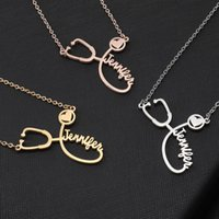 Stethoskop Halskette Lariat Herz-Anhänger 3 Farben Rose Gold Custom Name Halskette Collares