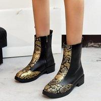 Stivali martinbooots alla moda serpentina caviglia donna polpetica spessa serpente stampa late cerniera scarpe da moto # 1123