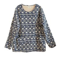 Женская футболка Joilature женщины теплые футболки печатают цветочные флисовые хлопковые льняные уплотнительные шеи с длинным рукавом 2021 осень старинные женские пуловер