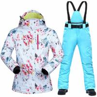 Лыжные куртки Женщины Лыжный костюм Бренды Зима Высокое Качество Теплые Водонепроницаемые Ветрозащитные Одежда Брюки и Куртка Сноубординг Костюмы